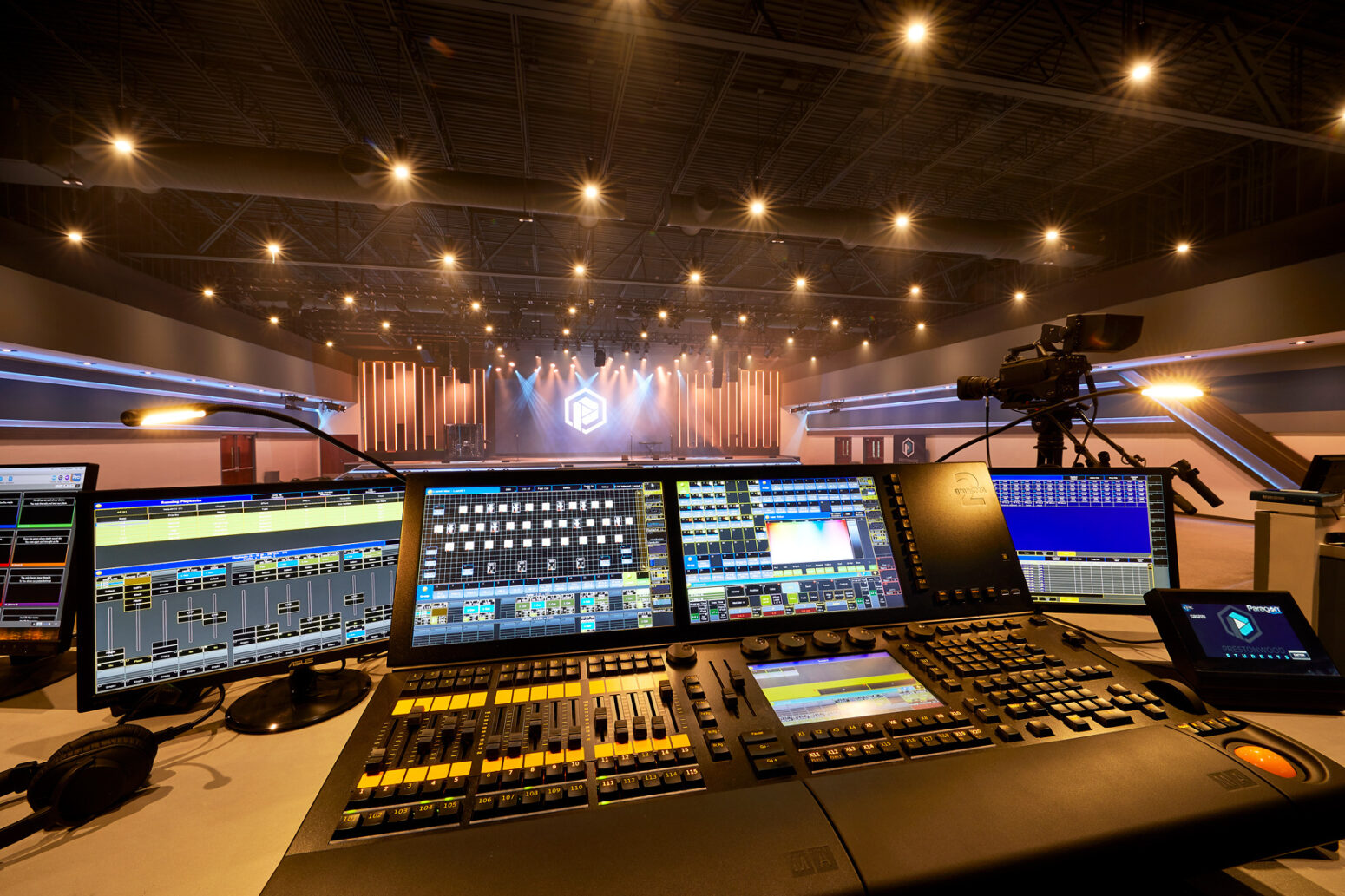 These controls for LED church stage lighting and AVL church speakers give Prestonwood Baptist control.
