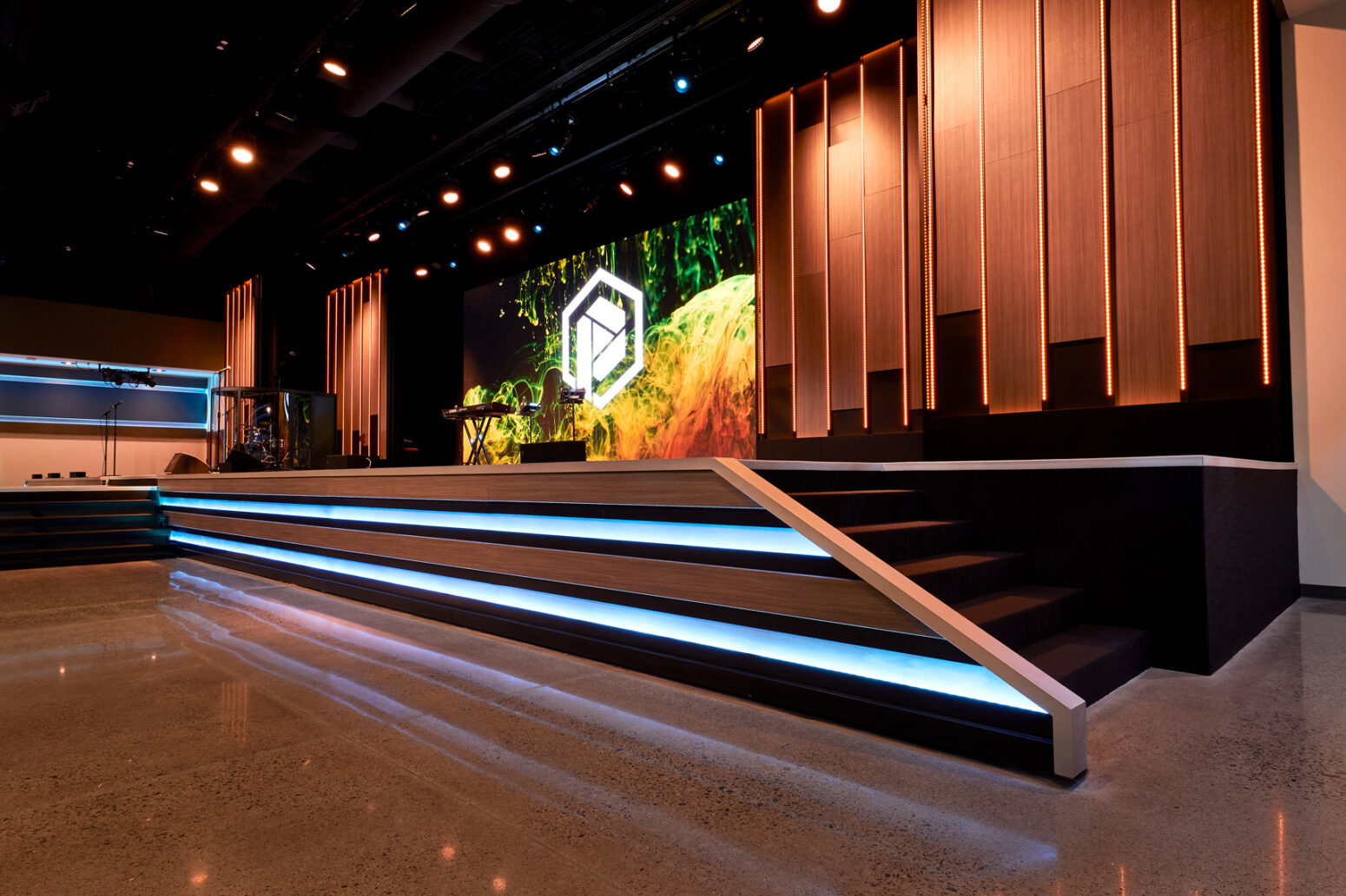 Scenic elements like this complete the contemporary church lighting system.