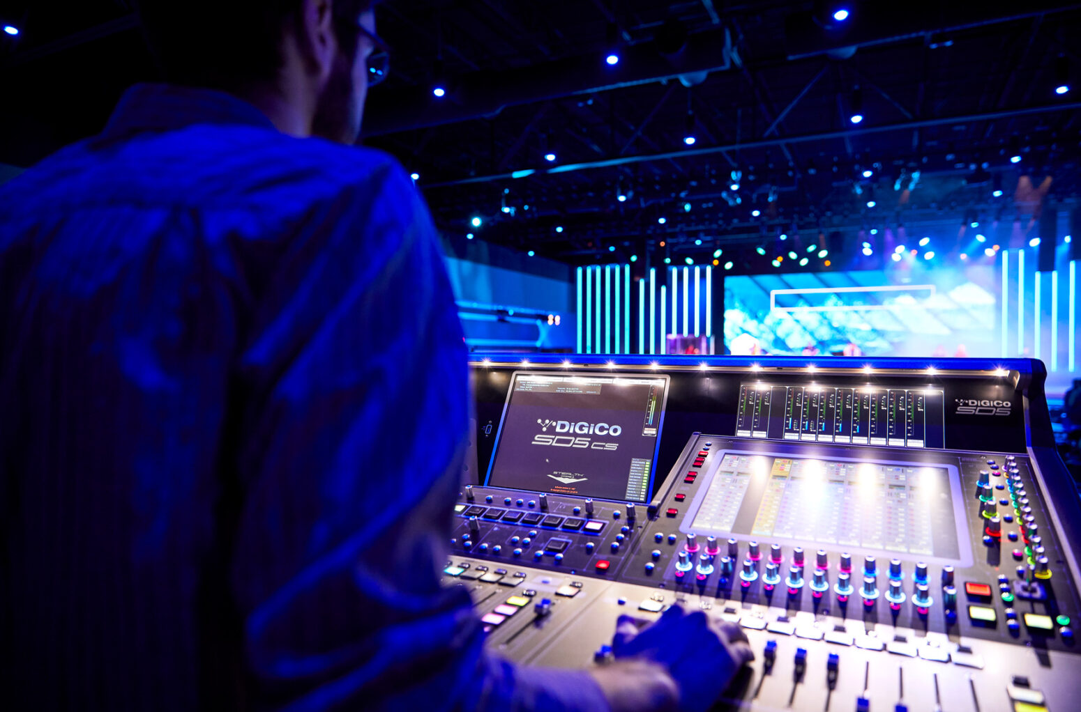 Managing the church stage lighting system and speakers is easy with this state-of-the-art equipment.
