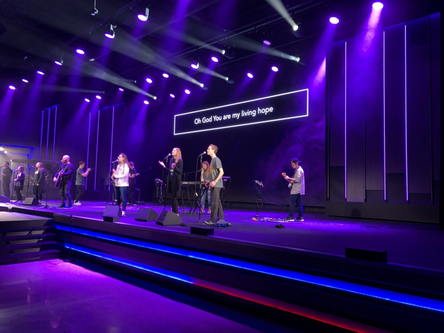 This church stage lighting system delivers the Word.